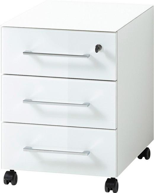 ROLLCONTAINER Weiß - Chromfarben/Weiß, MODERN, Glas/Kunststoff (40/55/50cm)
