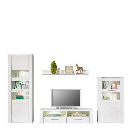 WOHNWAND Weiß - Silberfarben/Weiß, Design, Holzwerkstoff/Kunststoff (290/198/50cm) - CARRYHOME