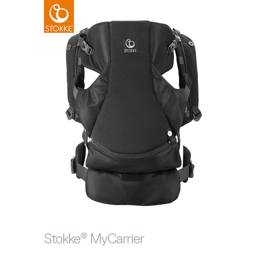 Image of Stokke Babytrage mycarrier front , 431704 Mycarrier 2 IN 1 , Schwarz , Textil , 39x34x10 cm , Bauchtragefunktion, gepolsterte und faltbare Kopf- und Nackenstütze , 004792020904