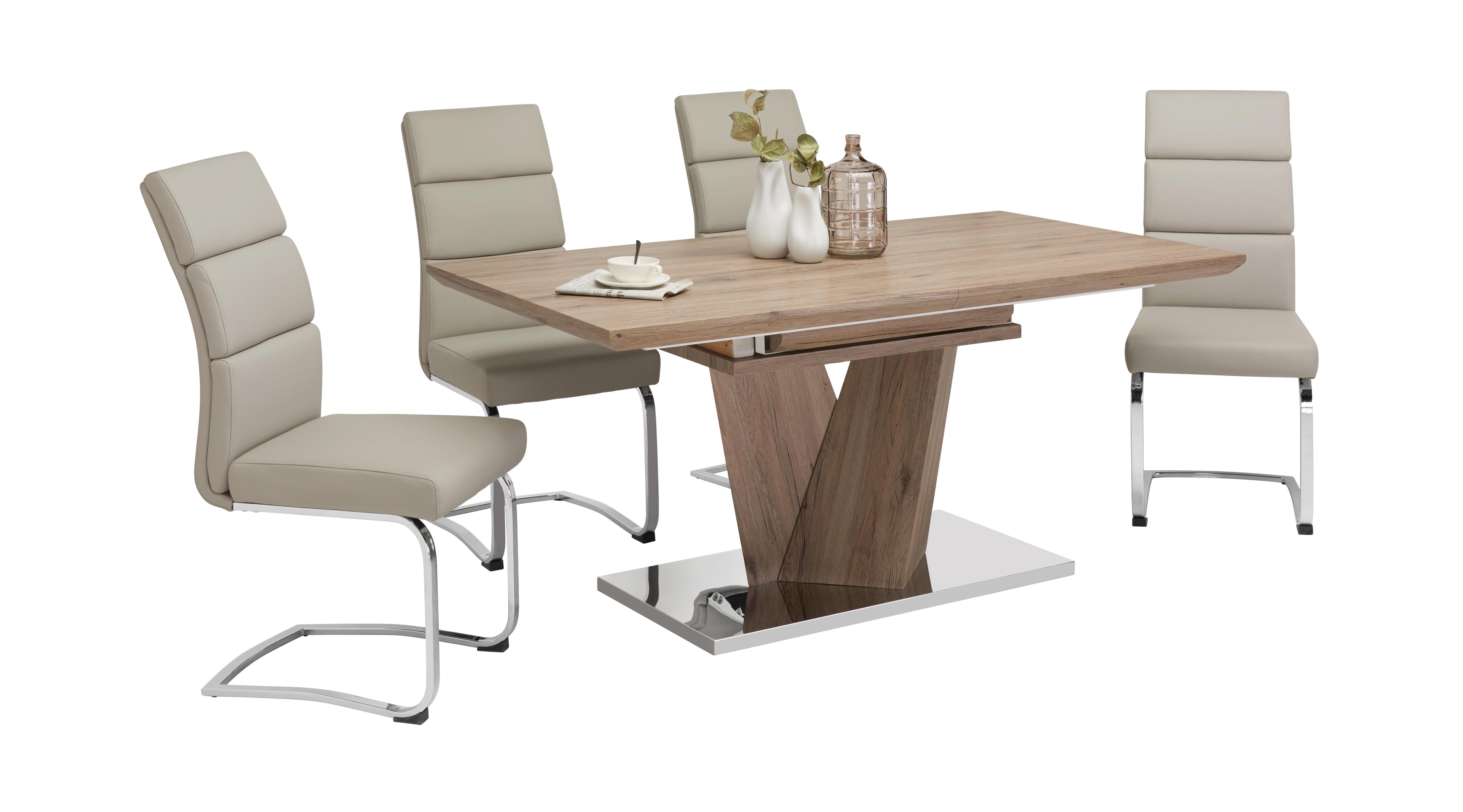 STOL ZA BLAGOVAONICU - boje hrasta/boje oplemenjenog čelika, Design, drvni materijal/metal (160-220/76/90cm) - CARRYHOME