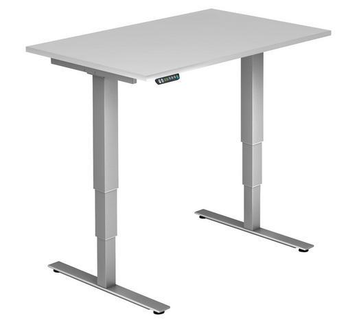 SCHREIBTISCH - Silberfarben/Weiß, KONVENTIONELL, Holzwerkstoff/Metall (120/63,5-128,5/80cm)
