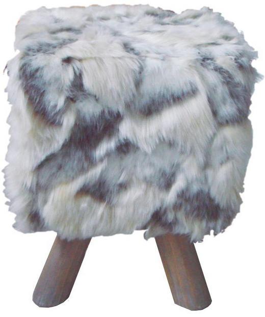 HOCKER Grau, Weiß - Weiß/Braun, Holz/Textil (33/43/33cm)