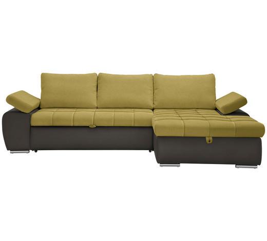 WOHNLANDSCHAFT in Textil Gelb, Grau, Grün - Gelb/Grau, Design, Kunststoff/Textil (271/175cm) - Xora