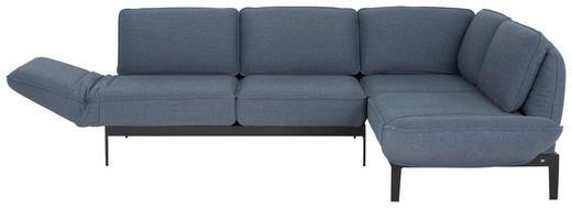 WOHNLANDSCHAFT in Textil Blau, Grau - Blau/Schwarz, Design, Textil/Metall (342/267/cm) - Rolf Benz