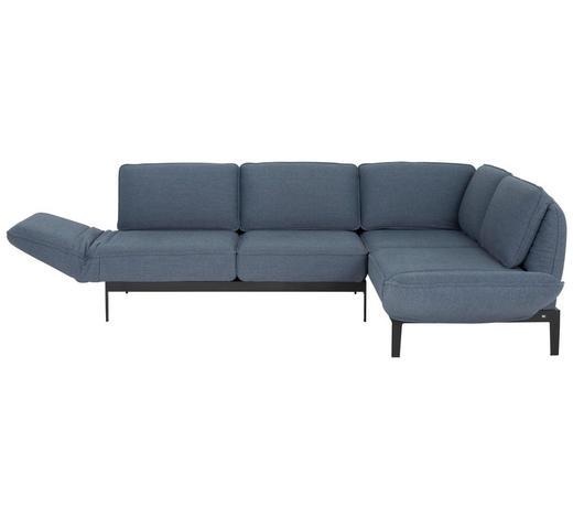 WOHNLANDSCHAFT in Textil Blau, Grau  - Blau/Schwarz, Design, Textil/Metall (342/267cm) - Rolf Benz