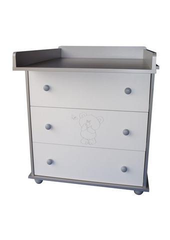 PREVIJALNA KOMODA MEDVEDEK - siva/bela, Basics, leseni material (48/90/83cm)