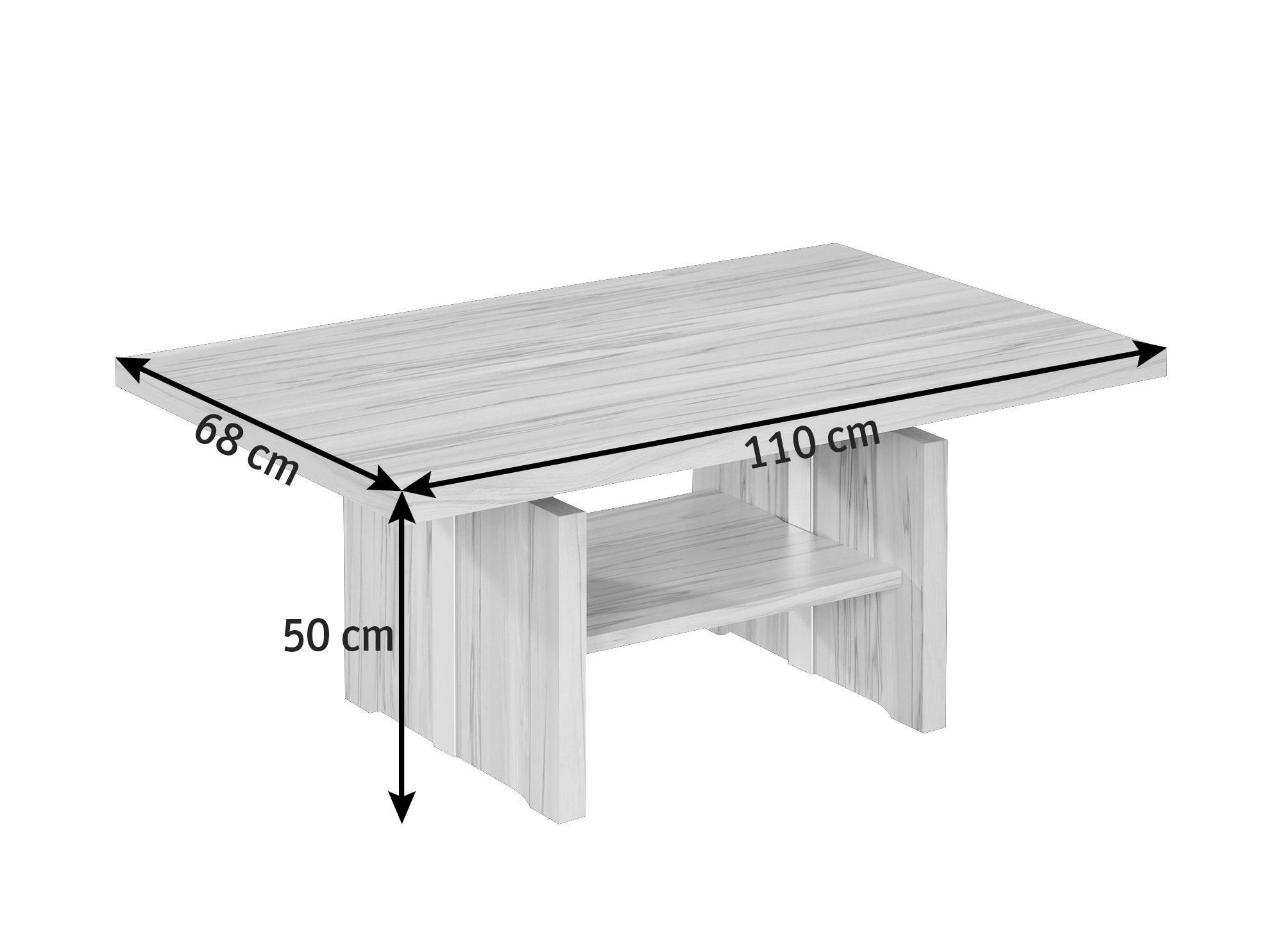 COUCHTISCH in 110/50-69/68 cm Buchefarben - Buchefarben, KONVENTIONELL, Holzwerkstoff/Metall (110/50-69/68cm) - CANTUS