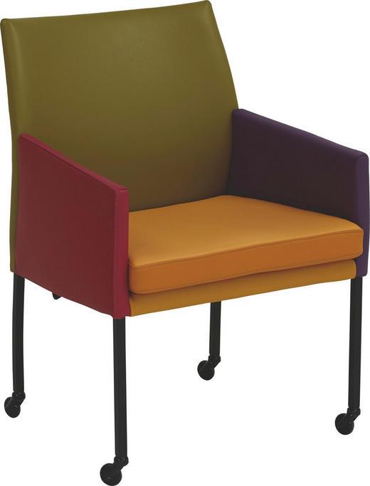 STUHL Echtleder Multicolor - Multicolor, Basics, Leder/Metall (53,5/90/64cm) - Bert Plantagie