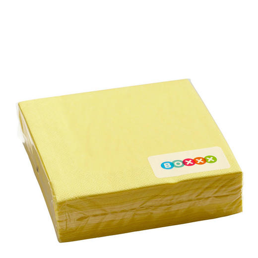 Servietten, 50er Pac  Papier  Gelb  40/40 cm - Gelb, Basics, Papier (40/40cm) - Boxxx