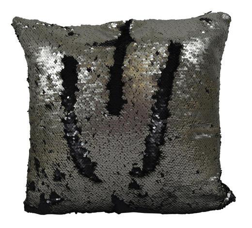 ZIERKISSEN 40/40 cm  - Silberfarben/Schwarz, Textil (40/40cm)