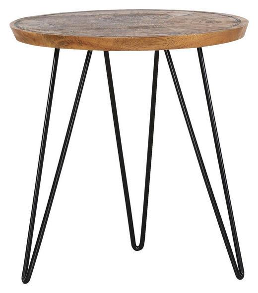 COUCHTISCH Mangoholz massiv rund Naturfarben - Schwarz/Naturfarben, Trend, Holz/Metall (46/48cm) - Carryhome