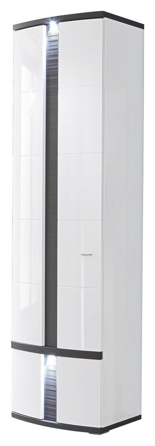 GARDEROBENSCHRANK geschroppt, Melamin Graphitfarben, Weiß - Chromfarben/Graphitfarben, Design, Holzwerkstoff/Metall (60/209/40cm) - Xora