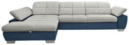 WOHNLANDSCHAFT in Textil Blau, Hellgrau, Silberfarben - Chromfarben/Blau, Design, Textil/Metall (204/297cm) - Xora