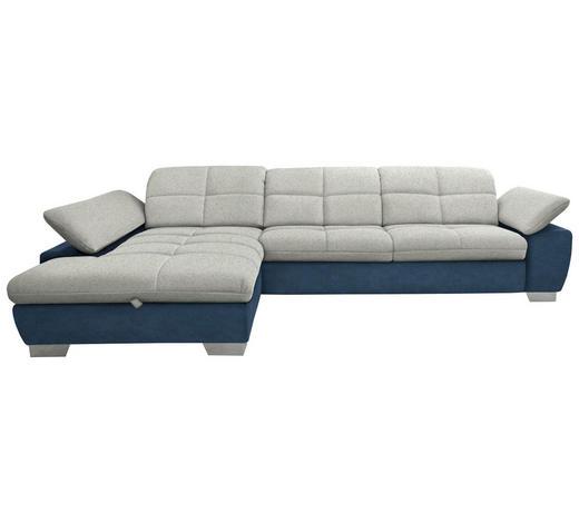 WOHNLANDSCHAFT in Textil Blau, Silberfarben, Hellgrau  - Chromfarben/Blau, Design, Textil/Metall (204/297cm) - Xora
