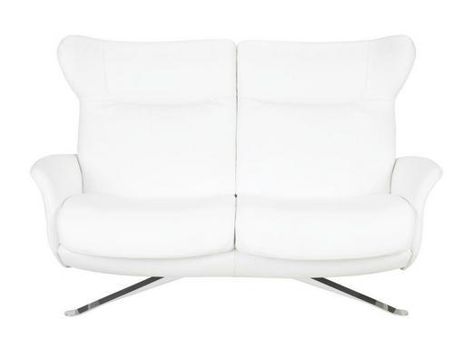 HEIMKINO-SOFA Echtleder Weiß - Chromfarben/Weiß, Design, Leder/Metall (156/104/89cm) - JOOP!