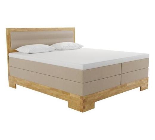 BOXSPRINGBETT 180/200 cm  INKL.  - Hellbraun/Eichefarben, KONVENTIONELL, Holz/Textil (180/200cm) - Linea Natura