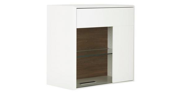 HÄNGEVITRINE in Weiß, Eichefarben   - Chromfarben/Eichefarben, Design, Glas/Holzwerkstoff (75/75/42cm) - Hom`in