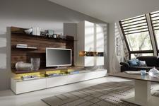 WOHNWAND Astnuss furniert Weiß, Nussbaumfarben  - Edelstahlfarben/Nussbaumfarben, Design, Glas/Holz (325/205,7/41,2-55,7cm) - Moderano