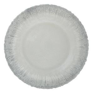 DEKORATIONSFAT - vit/silver, Trend, glas (32,5/2cm) - Ambia Home