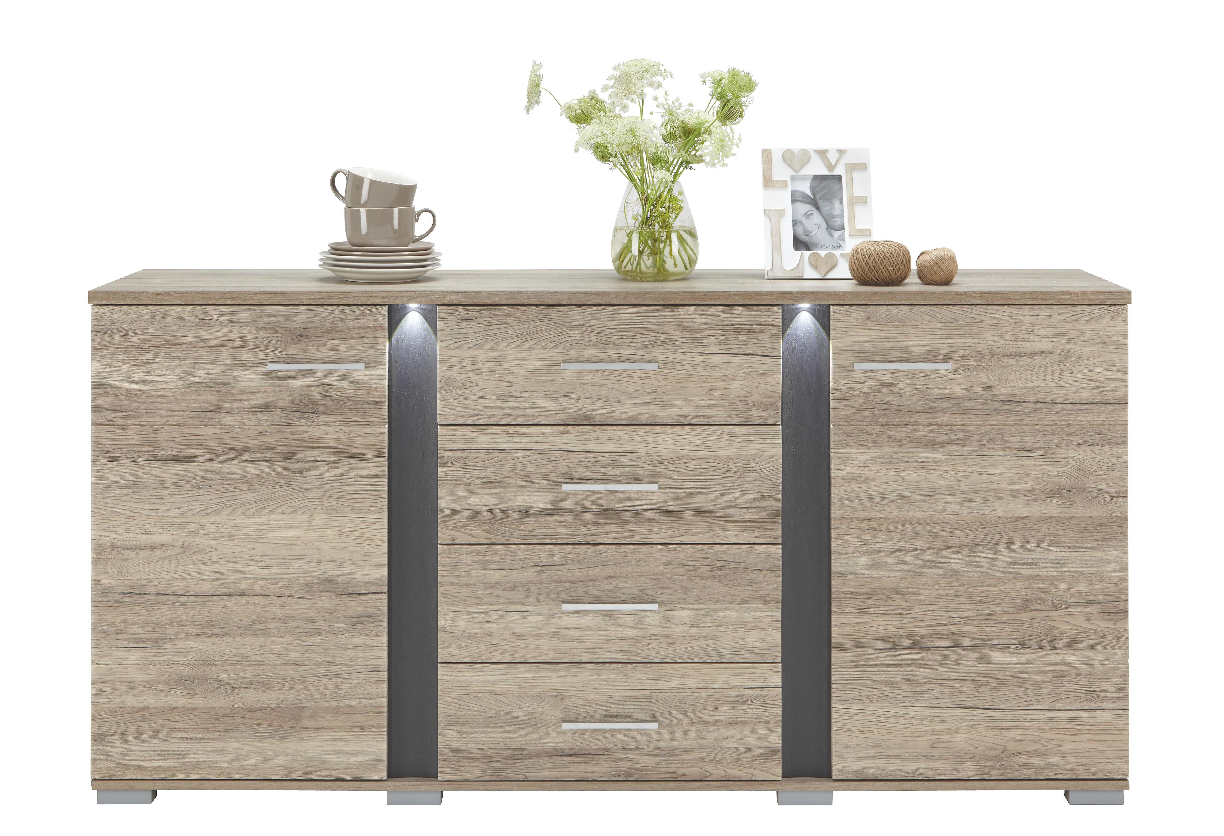 SIDEBOARD Eichefarben, Grau - Eichefarben/Silberfarben, Design, Holzwerkstoff/Kunststoff (170/87/43cm) - CARRYHOME