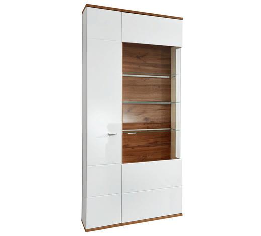 VITRÍNA, bílá, barvy dubu - bílá/šedá, Design, kov/kompozitní dřevo (90/208/37cm) - Stylife