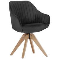 ŽIDLE, textil, antracitová,  - barvy dubu/antracitová, Design, dřevo/textil (60/83/65cm) - Hom`in