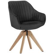 ŽIDLE, textilie, antracitová, - barvy dubu/antracitová, Design, dřevo/textilie (60/83/65cm) - Hom`in