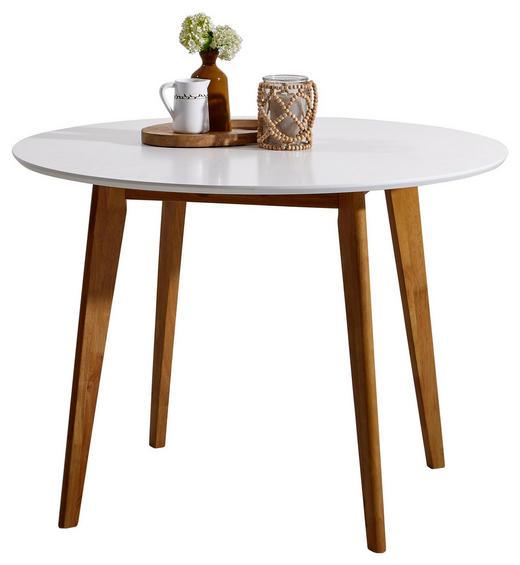 ESSTISCH Kautschukholz massiv Weiß - Weiß, Design, Holz (105/76cm) - Carryhome