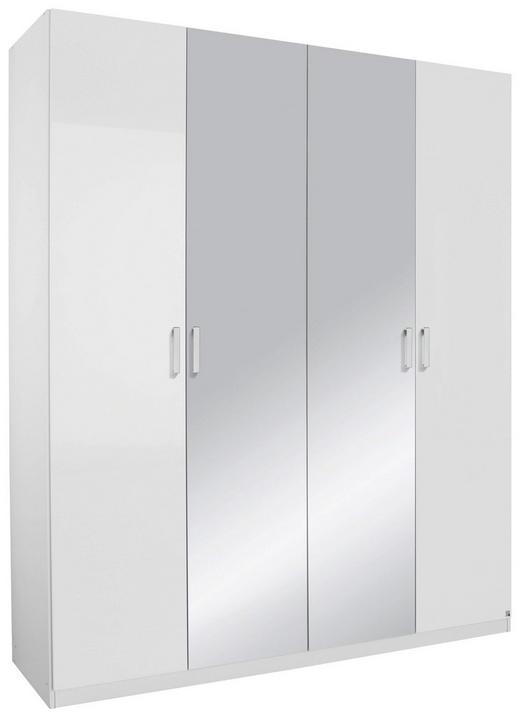 DREHTÜRENSCHRANK 4-türig Weiß - Alufarben/Weiß, Design, Glas/Holzwerkstoff (181/223/60cm) - Hom`in