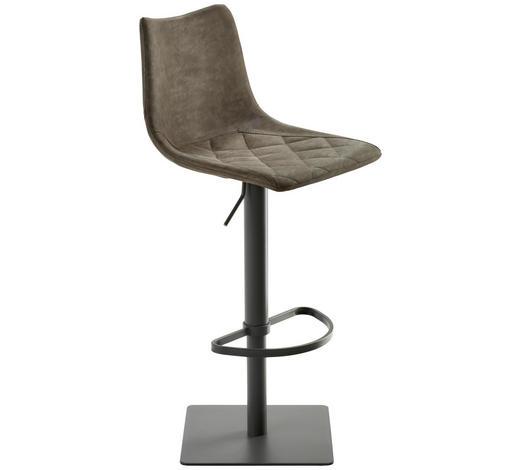 BARHOCKER Lederlook Grau, Schlammfarben - Schlammfarben/Anthrazit, Design, Textil/Metall (43/85-110/50cm)