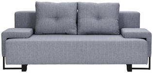 SCHLAFSOFA in Textil Grau  - Schwarz/Grau, Design, Textil/Metall (207/76-90/91cm) - Carryhome