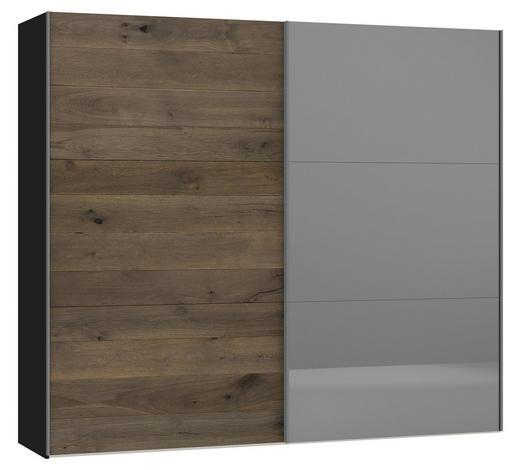 SCHWEBETÜRENSCHRANK 2-türig Eiche furniert Schwarz, Eichefarben  - Eichefarben/Silberfarben, Design, Glas/Holz (252,8/220/65cm) - Jutzler