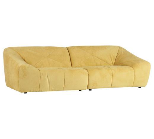 MEGASOFA Chenille Gelb  - Gelb/Schwarz, Trend, Textil (250/75/105cm) - Xora