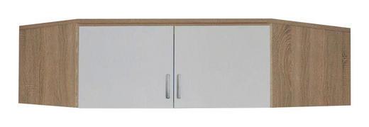 AUFSATZSCHRANK 120/39/54 cm Sonoma Eiche, Weiß - Silberfarben/Weiß, Design, Kunststoff (120/39/54cm) - Carryhome