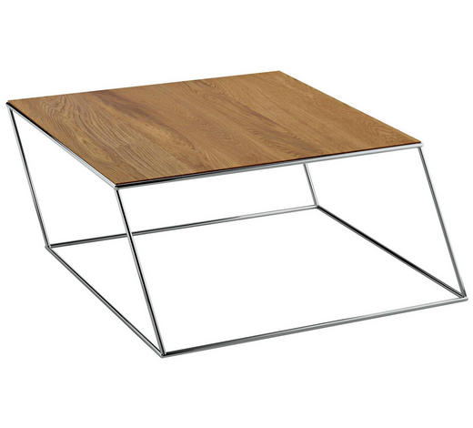 COUCHTISCH in Metall, Kunststoff 71/71/38 cm - Chromfarben/Weiß, Design, Kunststoff/Metall (71/71/38cm)