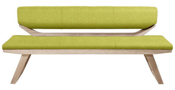 SITZBANK Webstoff Olivgrün  - Eichefarben/Olivgrün, Natur, Holz/Textil (190/81/56cm) - Linea Natura