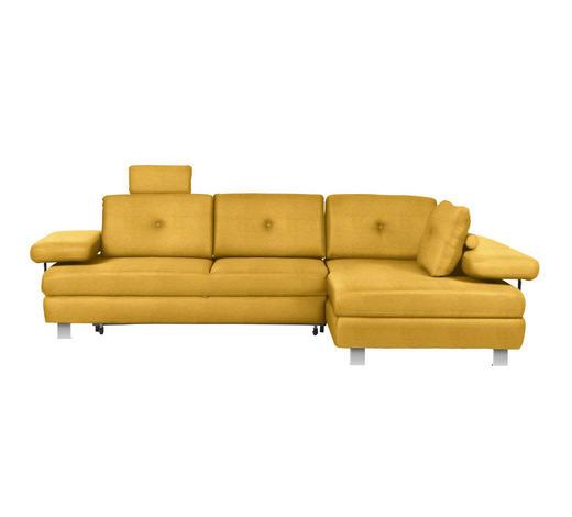 WOHNLANDSCHAFT in Textil Gelb - Chromfarben/Gelb, Design, Textil/Metall (288/190cm) - Hom`in