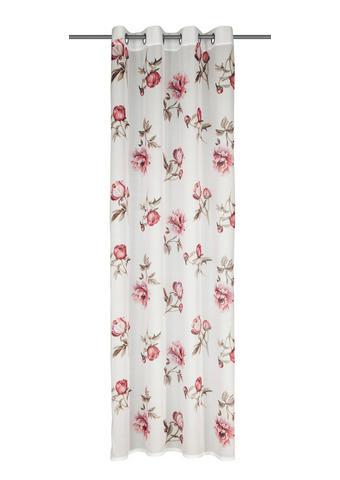 ZAVESA Z OBROČKI GRETA - rdeča/bela, Romantika, tekstil (135/245cm) - Esposa