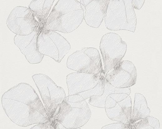Vliestapete  mit Blumenmuster 10,05 m - Creme/Grau, LIFESTYLE, Textil (53/1005cm)
