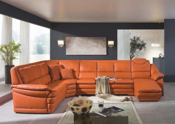 WOHNLANDSCHAFT Echtleder - Schwarz/Orange, KONVENTIONELL, Leder/Kunststoff (251/362/164cm) - HIMOLLA