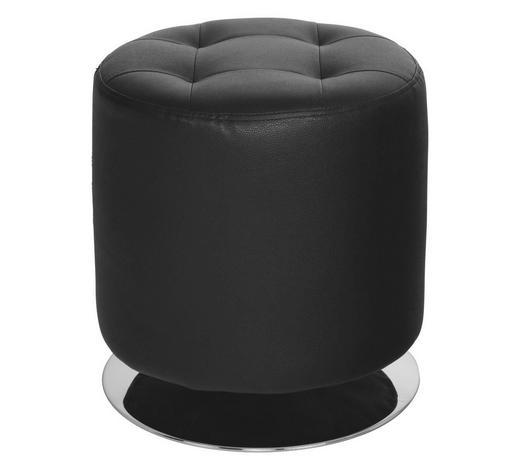 TABURET, černá, barvy chromu, vzhled kůže,  - černá/barvy chromu, Design, kov/textil (40/40cm)
