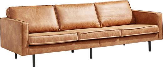 DREISITZER-SOFA Lederlook Braun - Schwarz/Braun, Design, Textil/Metall (277/85/86cm) - Ambia Home