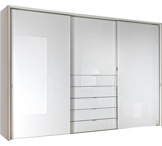 SCHWEBETÜRENSCHRANK in Weiß - Chromfarben/Weiß, Design, Glas/Holzwerkstoff (336/240/68cm) - Moderano