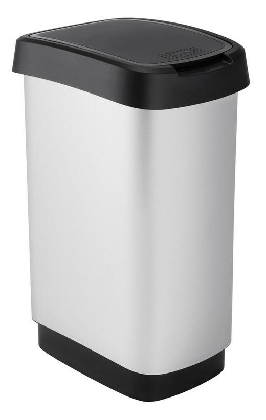 ABFALLEIMER Kunststoff - Silberfarben/Schwarz, Basics, Kunststoff (33,3/25,2/47,6cm) - Rotho
