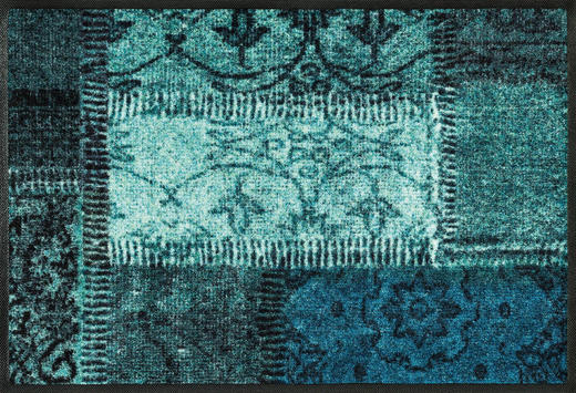 FUßMATTE 50/75 cm Graphik Türkis - Türkis, Kunststoff/Textil (50/75cm) - Esposa