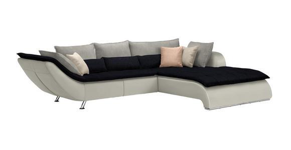 WOHNLANDSCHAFT in Textil Dunkelblau, Hellgrau, Weiß - Chromfarben/Hellgrau, Design, Textil/Metall (300/220cm) - Hom`in