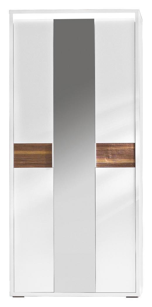 GARDEROBENSCHRANK Nussbaum Nussbaumfarben, Weiß - Nussbaumfarben/Weiß, Design, Glas/Holz (91/203/35cm) - Cassando
