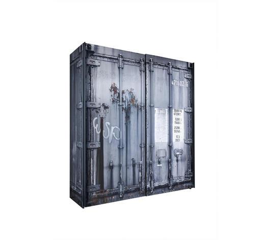 SCHWEBETÜRENSCHRANK in Grau, Schwarz  - Anthrazit/Schwarz, Design, Holzwerkstoff/Metall (215/210/60cm) - Stylife