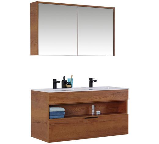 BADEZIMMER - Eichefarben/Weiß, Design, Glas/Holzwerkstoff (120cm) - Celina