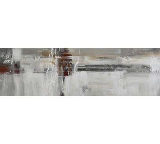 OLEJOMALBA, abstraktní, 180/55 cm,  - bílá/hnědá, Design, dřevo/textil (180/55cm) - Monee